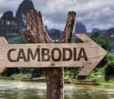 Cambodia wooden sign with a forest background - Lumle holidays