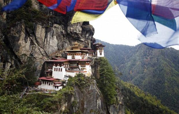 Prayer flags above the sacred Tatkshang Lhakang, Bhutan.