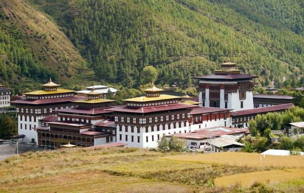 The Tashichhoedzong in the city of Thimpu in Bhutan