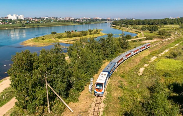 The train travels along the Children's Railway on the Konny island in the Irkutsk city - Lumle holidays